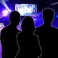 Publik på Melodifestivalen och tre infällda siluetter