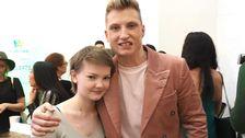 Bild på när Olivia Hultman träffade Axel Schylström inför Melodifestivalen 2017.