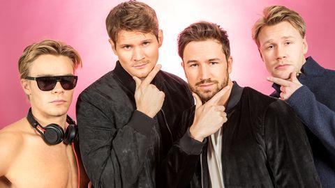 """Bild på De Vet Du, som sjunger """"Road Trip"""" i Melodifestivalen2017."""