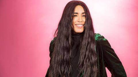 "Bild på Loreen, som sjunger ""Statements"" i Melodifestivalen2017."