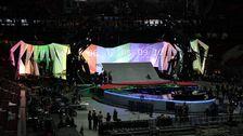 Bild på den 52 meter långa projektionsväggen.