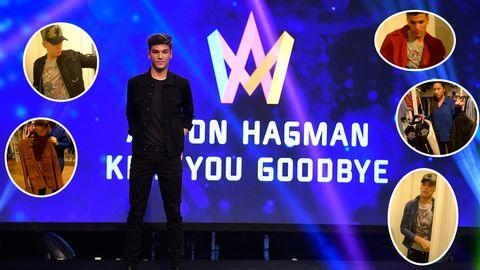 Anton Hagman testar kläder inför Melodifestivalen 2017.