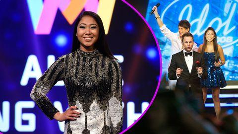 Alice Svensson i Melodifestivalen 2017 och Idol-finalen 2008.