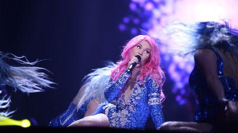 """Dinah Nah repeterar sin låt """"One More Night"""" inför Melodifestivalen 2017."""