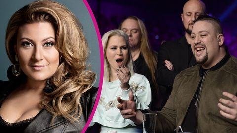 Sarah Dawn Finer stöttar Nano i Melodifestivalen 2017.