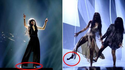Då och nu: Loreen i Eurovision-finalen 2012 med Euphoria respektive på genrepet inför Melodifestivalen-comebacken 2017. Båda gångerna barfota på scenen.