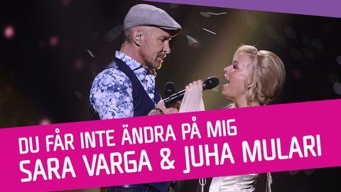 """Se Sara Varga och Juha Mulari sjunga """"Du får inte ändra på mig"""" i Melodifestivalen 2017."""