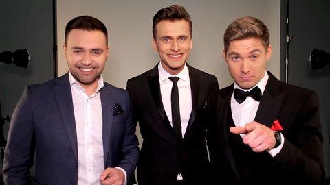 Årets Eurovision Song Contest-programledare. Från vänster till höger: Timur Miroshnychenko, Oleksandr Skichko och Volodymyr Ostapchuk