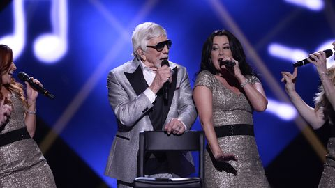 Owe Thörnqvist under genrepet i Melodifestivalen 2017.