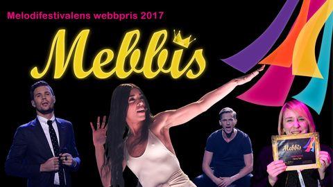 Bild på Melodifestivalens webbpris, Mebbis, 2017. Foto: Stina Stjernkvist och Lania Sitepu/SVT & TT (montage)