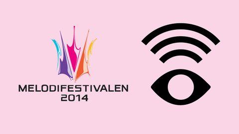 Bild på Melodifestivalens logga och symbolen för syntolkning.