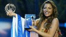 """Bild på hur det såg ut när Helena Paparizou vann Eurovision Song Contest 2005 med """"My Number One""""."""