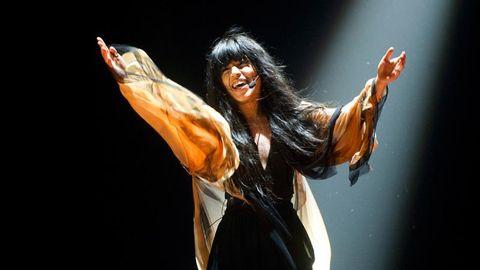 Bild på Loreen som framför Euphoria för Sverige i Eurovision Song Contest 2012.