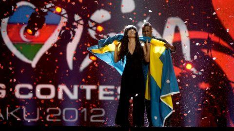 Loreen och Ausben Jordan firar efter segern i Eurovision Song Contest 2012