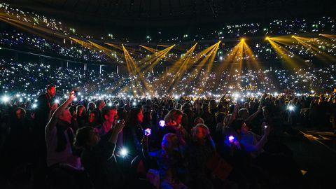 Publik i Friends Arena inför Melodifestivalens final 2015.