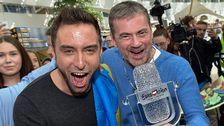 Måns Zelmerlöw och Christer Björkman efter segern i Eurovision Song Contest 2015