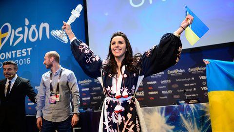 Jamala, vinnare av Eurovision Song Contest 2016, vid presskonferensen i Stockholm efter Ukrainas seger.