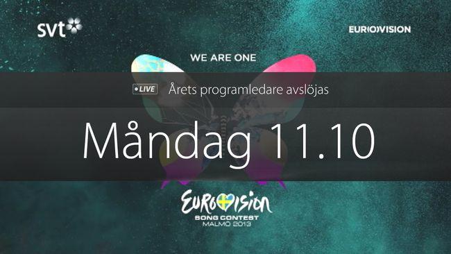 Årets programledare för Eurovision Song Contest avslöjas måndag klockan 11.10