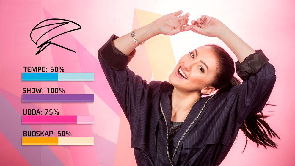 "Bild på Adrijana, som sjunger ""Amare"" i Melodifestivalen2017."