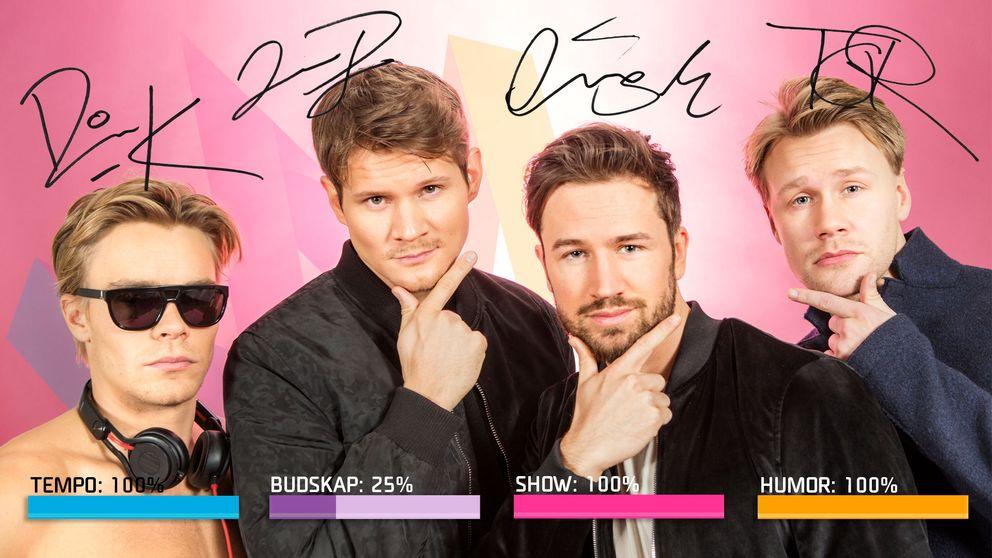 """Bild på De Vet Du, som sjunger """"Roadtrip"""" i Melodifestivalen2017."""