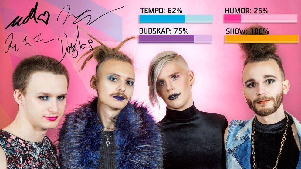 "Bild på Dismissed, som sjunger ""Hearts Align"" i Melodifestivalen2017."