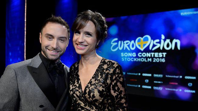 Måns Zelmerlöw och Petra Mede inför Eurovision Song Contest 2016