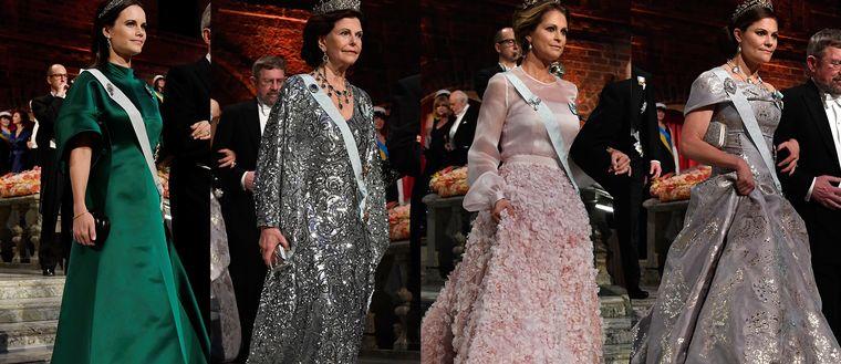 Kungligheternas klänningar på nobelbanketten 2016