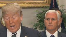 Donald Trump vid mikrofon i Vita huset