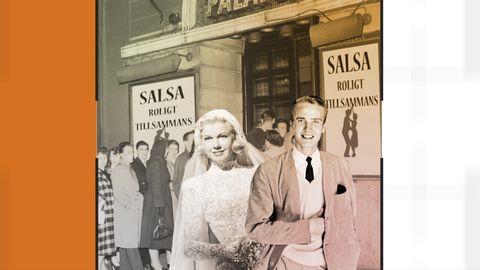 Grafik med bild på en man och en kvinna vid entrén till en salsakurs.