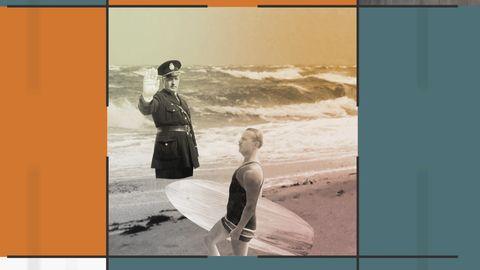 Grafik med bild på en surfare och en polis som gör stopptecken.