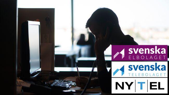 Anonym man i profil som sitter vid ett skrivbord och talar i telefon. Dessutom loggor från företagen Svenska elbolaget, Svenska telebolaget och Nytel.