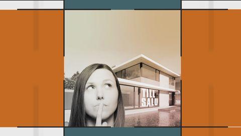 Kvinna som funderar. I bakgrunden ett hus till salu.