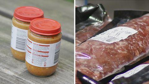 Tvådelad bild. Till vänster i bild står två barnmatsburkar och till höger ligger en vakumförpackade köttbitar.