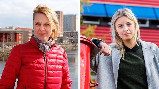 Tudelad bild. Kvinna i röd jacka med stadsbild i bakgrunden till vänster. Till höger kvinna med rött hus i bakgrund.