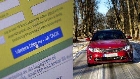 Närbild på dataskärm som visar en bilvärderingssajt, samt bild på en röd bil.