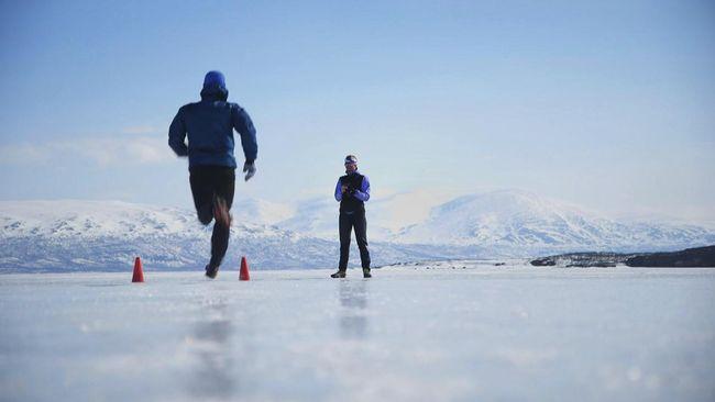 löpare på isen