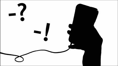 grafik: hand som håller telefon, frågetecken och utropstecken