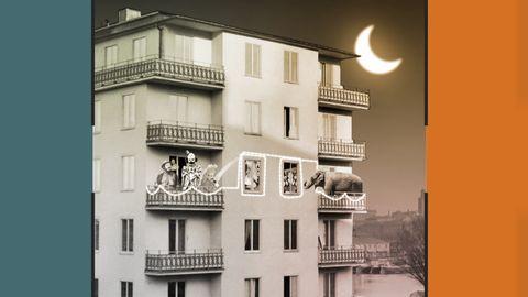 Grafik innehållande en bild på ett höghus, med clowner och elefanter på balkongerna. Månen lyser i himlen.
