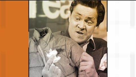 Grafik inklusive bild på en arg man med en trasig jacka.