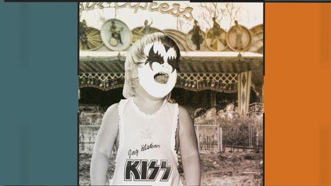 Gråtande barn, målad som bandet Kiss.