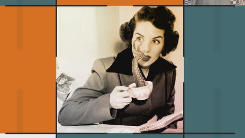 Grafik med bild på en kvinna med en kaffekopp. Ur koppen slingrar sig en tentakel från en bläckfisk.