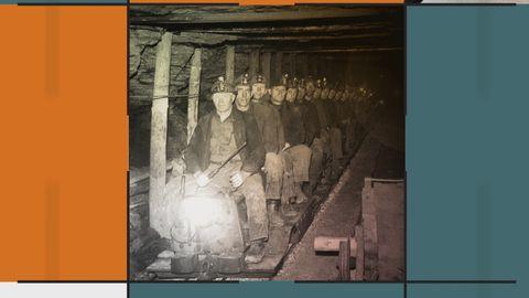 Grafik med bild på gruvarbetare på underjordiskt tåg.