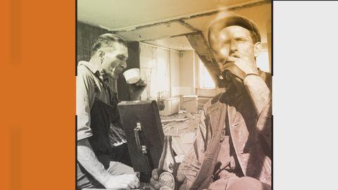 Grafik innehållande bild på två hantverkare på kafferast.
