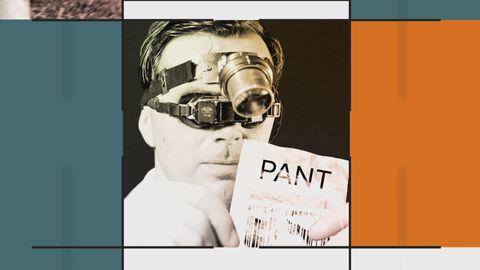 Grafik innehållande bild på en man i närbild, som med hjälp av speciella glasögon granskar ett pantkvitto.