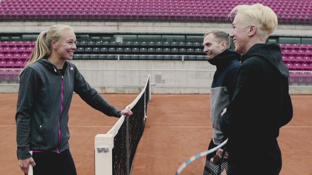 Tennisspelaren Johanna Larsson, Kajsa Bergqvist och Peter Häggström.