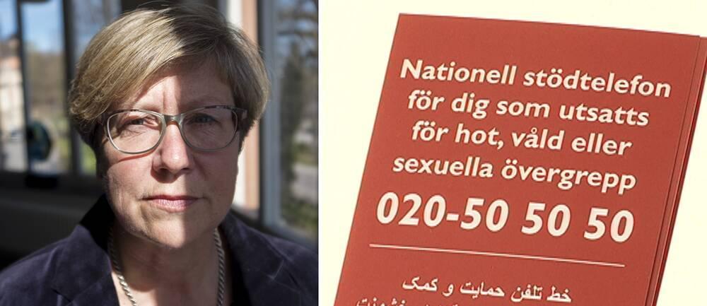 Bilden visar Åsa Witkowski som är verksamhetschef för den nationella Kvinnofridslinjen. Till höger syns en bild på numret till stödlinjen.