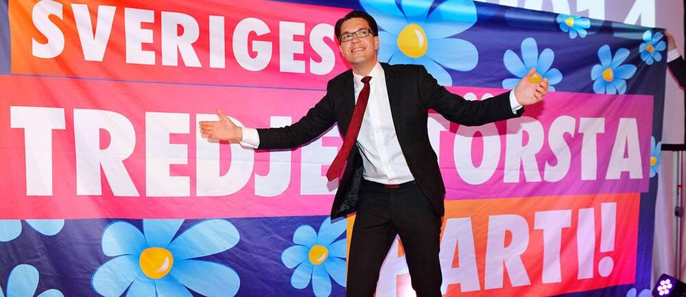 Sverigedemokraternas partiledare Jimmie Åkesson på valdagen.