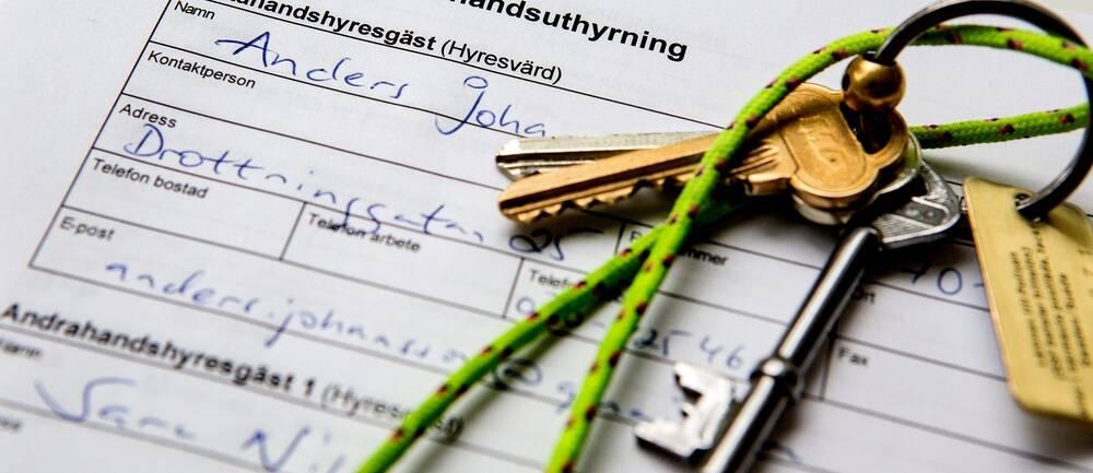 Nycklar på hyreskontrakt