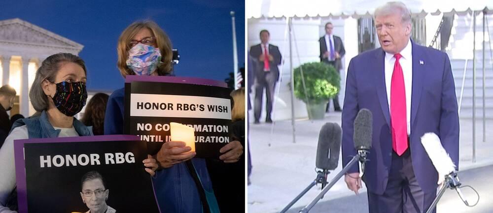 President Donald Trump vill att en kvinna omgående väljs in efter avlidna Ruth Bader Ginsburgs. Den legendariske HD-domarens sista vilja var dock att valet görs efter presidentvalet.