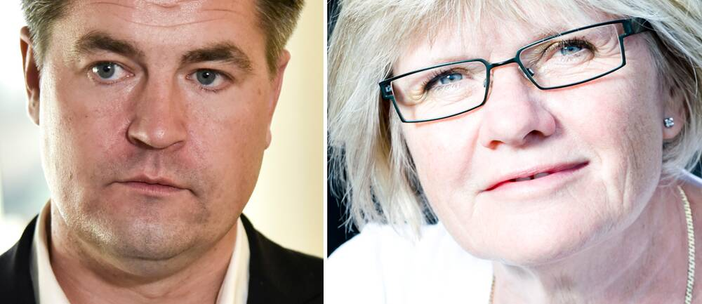 Bilden visar Oscar Sjöstedt (SD) till vänster och Elisabeth Wallenius, ordförande för Funktionsrätt Sverige till höger.